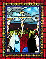 Saint Matthew the Apostle Church (Gahanna, Ohio) - stained glass, Angel with the women at the tomb - detail, Crucifixion.JPG