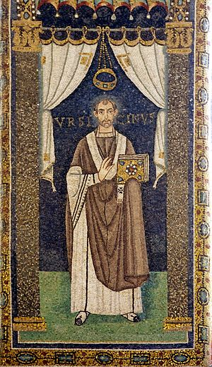 Ursicinus (Bishop of Ravenna) - Image: Saint Ursicinus of Ravenna mosaic (crop) Sant'Apollinare in Classe Ravenna 2016
