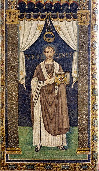 Ursicinus (Bishop of Ravenna) - Image: Saint Ursicinus of Ravenna mosaic (crop) Sant'Apollinare in Classe Ravenna 2016