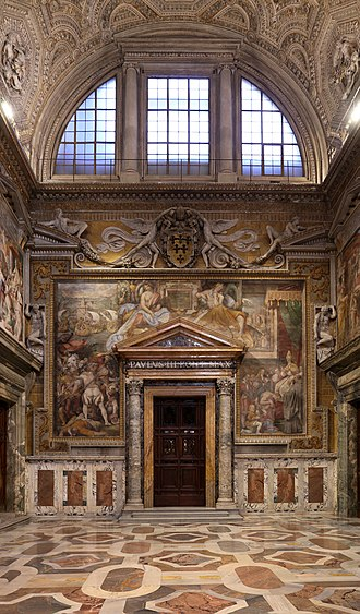 Cappella Paolina - Sala Regia. The door at the end leads to the Cappella Paolina