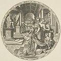 Salomo vereerd, misleid door zijn geliefde, een beeld van een afgod. In een paleis knielt hij neer voor het beeld van een heidense godheid 1 Kon. 118. NL-HlmNHA 53008042.JPG