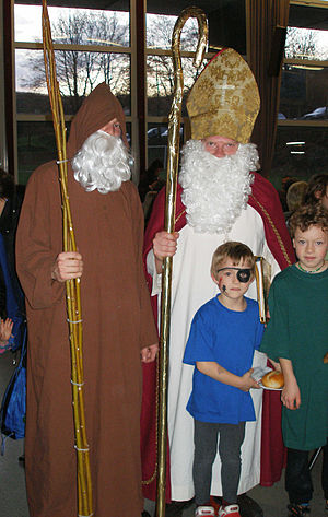 Knecht Ruprecht (on the left) and St. Nicholas.