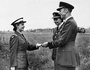 Arthur Sanders (RAF officer) - The Best Cadet receives her certificate from Air Marshal Sir Arthur Sanders and Air Commandant Dame Felicity Hanbury, Director of the Women's Royal Air Force, at Hawkinge, circa 1949–1950