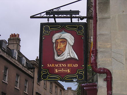 The Saracen's Head: a pub sign in Bath, England Saracens Head pub sign.jpg