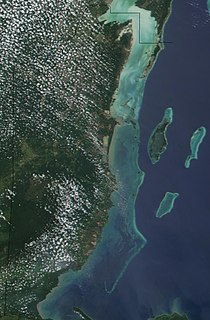 Belize Barrier Reef series of coral reefs straddling the coast of Belize