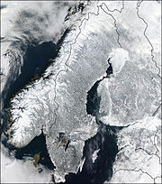 Satellite photo of the Scandinavian Peninsula, February 2003, with political boundaries added