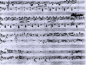 Fantasia in F minor for piano four-hands, D 940 (Schubert) - A page from the autograph manuscript, showing a portion of the second (left-side) part from the fourth movement.
