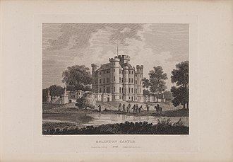 Eglinton Castle - Etching of Eglinton Castle by James Fittler in Scotia Depicta published 1804