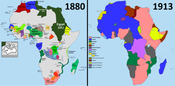 Comparison of Africa in the years 1880 and 1913 Scramble-for-Africa-1880-1913.png