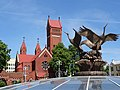 Sculpture with Church of St. Simeon and St. Helena - Independence Square - Minsk - Belarus (27511946316).jpg