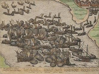 Battle of the Scheldt (1574) - Battle in the East Scheldt between the Spanish and the beggar fleet as portrayed by Frans Hogenberg