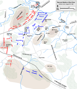 Fitz John Porter - August 29, noon; Longstreet's Corps arrives; Porter's Corps stops and does not engage