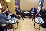 Secretary Kerry, Israeli Prime Minister Netanyahu, Respective Advisers Sit Together Before Bilateral Meeting on Sidelines of World Economic Forum in Switzerland (24150109469).jpg