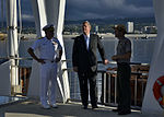 Secretary of Agriculture Tom Vilsack, center, visits the USS Arizona Memorial with U.S. Navy Rear Adm. Glenn Robillard, left, and National Park Service Superintendent Paul DePrey Jan. 10, 2012, in Pearl Harbor 120110-N-RI884-026.jpg