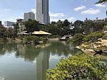 Seifukan Teahouse and Kokokyo Bridge in Shukkei Garden 1.jpg