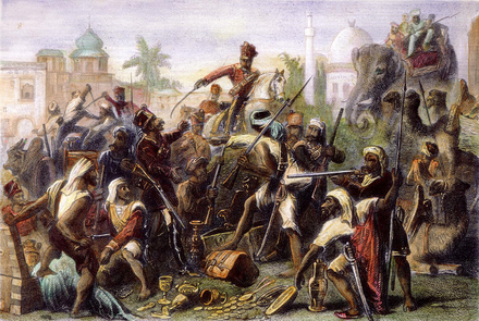 A scene from the 1857 Indian Rebellion (Bengal Army). Sepoy Mutiny 1857.png