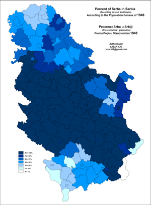 Demographic history of Serbia - Image: Serbia Serbs Map 1948 Srez