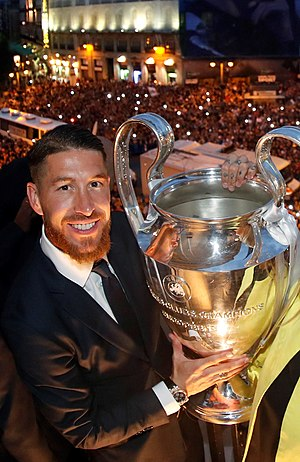 2016 UEFA Champions League Final - Man of the Match winner Sergio Ramos holding the Champions League trophy during celebrations in Madrid.