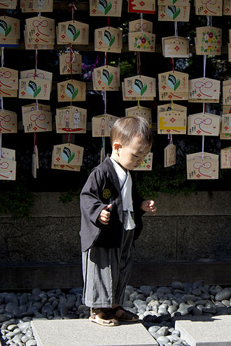 Shichi-Go-San - Japanese boy at a shrine in Tokyo, dressed up for the Shichi-Go-San festival