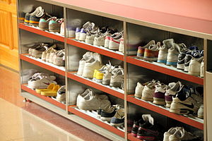 Shoes in their racks