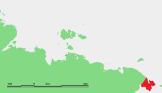 Chukchi Peninsula - Location of the Chukchi Peninsula in Far East Siberia.