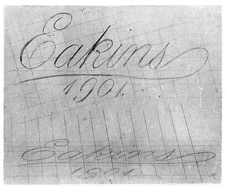 Portrait of Leslie W. Miller - G-349A. Perspective drawing of Eakins's signature (1901), Hirshhorn Museum and Sculpture Garden.