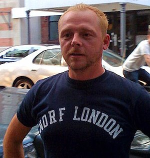 "Th-fronting - Actor Simon Pegg wearing a t-shirt with the slogan Norf London, representing ""North London"" with th-fronting"