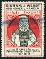 Sinram & Wendt, Hannover u. Hameln, Ich hab's, Fabrikmarke ges. gesch., Grösste Patentkleiderbügelfabrik der Welt, Reklamemarke, poster stamp, cinderella, um 1900.jpg