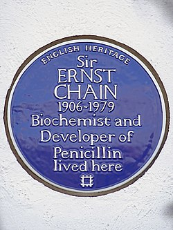 Sir ernst chain 1906 1979 biochemist and developer of penicillin lived here