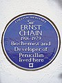 Sir ERNST CHAIN 1906-1979 Biochemist and Developer of Penicillin lived here.jpg