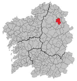 A Pastoriza - Location of A Pastoriza in Galicia.