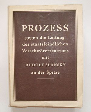 Slánský trial - The official 1953 protocol, printed in Prague in at least seven languages (pictured in German)
