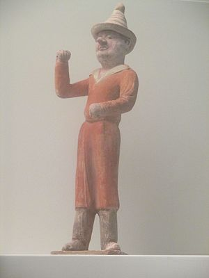 An Lushan - A Tang Chinese ceramic statuette of a Sogdian merchant