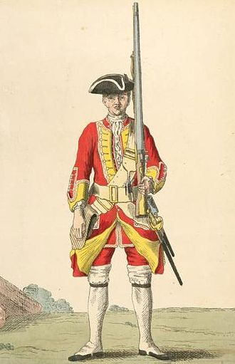 Facing colour - Soldier of the 8th (The King's) Regiment of Foot with yellow facings (1742)