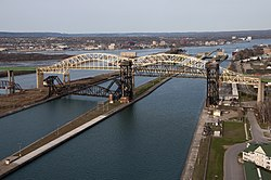 Soo Locks International Bridge, (North) Downtown Sault Ste. Marie Ontario.