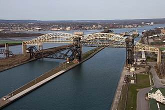 Sault Ste. Marie, Ontario - Soo Locks International Bridge, (North) Downtown Sault Ste. Marie Ontario.