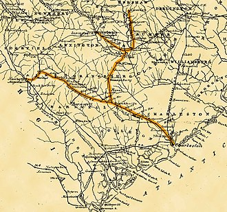 South Carolina Railroad - Image: South Carolina RR Road Map 1880