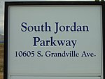 South Jordan Parkway station passenger platform sign, Apr 16.jpg