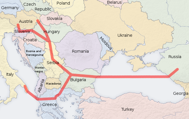 South Stream map