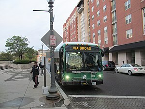 Rhode Island Public Transit Authority - An R-Line bus in downtown Providence