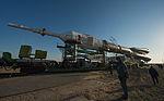 Soyuz TMA-08M spacecraft roll out by train 5.jpg