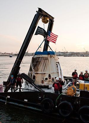 SpaceX CRS-2 - The Dragon capsule after being transported to shore on March 27, 2013