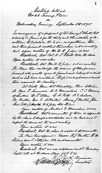Theosophical Society - Notes of the meeting proposing the formation of the Theosophical Society, New York City, 8 September 1875