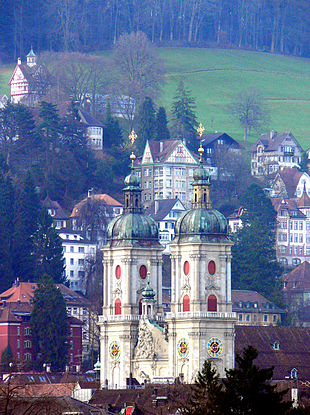"""The <a href=""""http://search.lycos.com/web/?_z=0&q=%22Abbey%20of%20Saint%20Gall%22"""">Abbey Cathedral of St Gall</a> and the old city"""