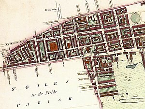 Fitzrovia - Map featuring the Fitzrovia area (top half of map), 1804. The north is to the right-hand side.