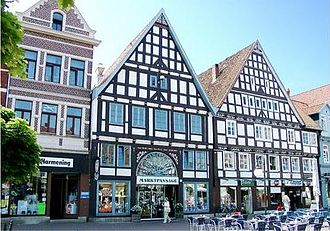 Stadthagen - Market square. The photo shows the entrance to the Marktpassage, an indoor shopping arcade.