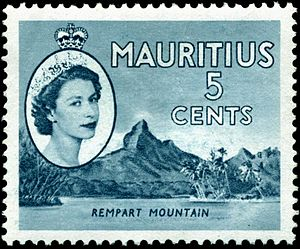 Queen of Mauritius - Elizabeth II on a Mauritian stamp, 1954