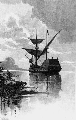 Willem Janszoon - 19th-century artist impression of the ship Duyfken in the Gulf of Carpentaria