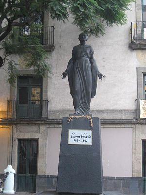 Leona Vicario - Statue of Leona Vicario located at a plaza on the corner of Republica de Brasil and Republica de Nicaragua in the historic center of Mexico City.