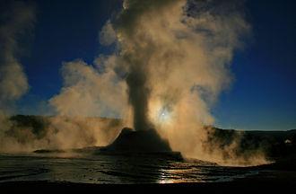 Steam - Liquid phase eruption of Castle Geyser in Yellowstone Park